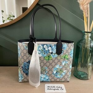 NEW Gucci Blooms Blue Tote Small Bag Reversible